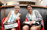 Blacksticks Charlotte Harrison and Kyla Sharland relax in the team lounge. Media visit to the Games Village. XIX Commonwealth Games, New Delhi, India. Friday 1st September 2010 September 2010. Photo: Simon Watts / photosport.co.nz