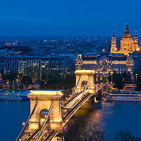 The old Chain bridge in Budapest Hungary by night