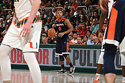 February 13, 2018: Devon Hall #0 of Virginia in action during the NCAA basketball game between the Miami Hurricanes and the Virginia Cavaliers in Coral Gables, Florida. The Cavaliers defeated the 'Canes 59-50.