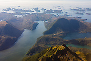 Aerial photograph of the mountains and islands of the Alexander Archipelago, Southeast Alaska, USA
