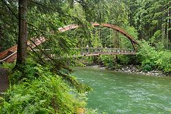 United States, Washington, North Bend, Mt. Baker-Snoqualmie National Forest, bridge over river,  Middle Fork Snoqualmie River Trail
