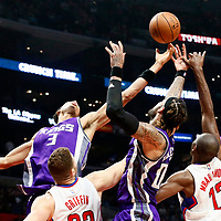 26 March 2016: Sacramento Kings forward Skal Labissiere (3) and Sacramento Kings center Willie Cauley-Stein (00) vie for the rebound with LA Clippers forward Blake Griffin (32) and LA Clippers forward Luc Mbah a Moute (12) during the Sacramento Kings 98-97 victory over the Los Angeles Clippers, at the Staples Center, Los Angeles, California, USA.