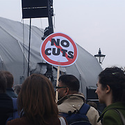 The rally that saw more than 250.000 people protesting against the government cuts was organised by various trade unions.