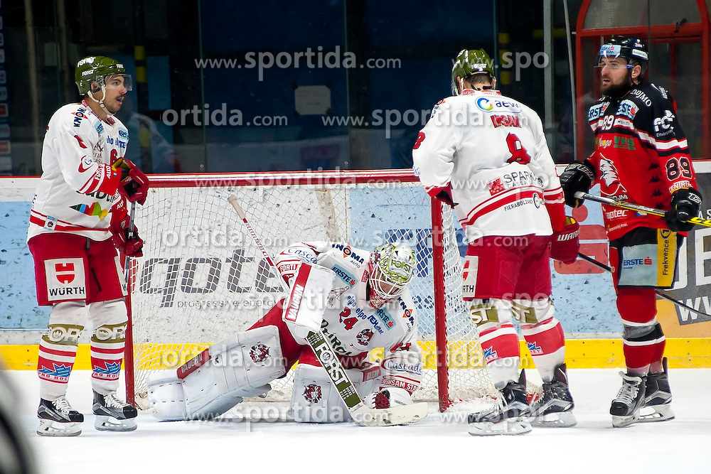 28.12.2015, Ice Rink, Znojmo, CZE, EBEL, HC Orli Znojmo vs HCB Suedtirol, 36. Runde, im Bild v.l. Sean McMonagle (HCB Sudtirol) Jaroslav Hubl (HCB Sudtirol) Marco Insam (HCB Sudtirol) Jan Lattner (HC Orli Znojmo) // during the Erste Bank Icehockey League 36nd round match between HC Orli Znojmo and HCB Suedtirol at the Ice Rink in Znojmo, Czech Republic on 2015/12/28. EXPA Pictures © 2015, PhotoCredit: EXPA/ Rostislav Pfeffer