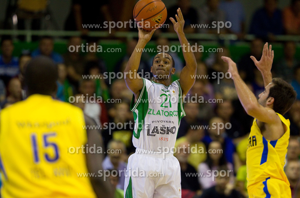John Roberson of Zlatorog during basketball match between KK Zlatorog Lasko and Maccabi Electra Tel-Aviv in 2nd Round of ABA League, on October 3, 2011, in Arena Tri Lilije, Slovenia. (Photo by Vid Ponikvar / Sportida)
