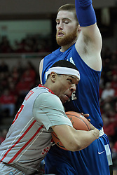 26 February 2014:  Justin Gant stands in the way of Zach Lofton during an NCAA Missouri Valley Conference (MVC) mens basketball game between the Indiana State Sycamores and the Illinois State Redbirds  in Redbird Arena, Normal IL.