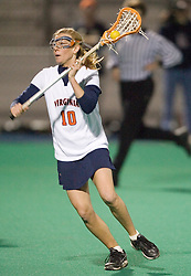 Virginia Cavaliers M Kaitlin Duff (10) in action against Virginia Tech.  The Virginia Cavaliers Women's Lacrosse team defeated Virginia Tech at the University Hall Turf Field in Charlottesville, VA on February 21, 2007.