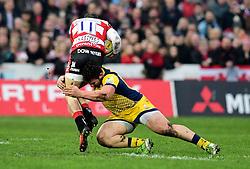 Val Rapava Ruskin of Worcester Warriors tackles Jonny May of Gloucester Rugby  - Mandatory by-line: Joe Meredith/JMP - 07/01/2017 - RUGBY - Kingsholm - Gloucester, England - Gloucester Rugby v Worcester Warriors - Aviva Premiership