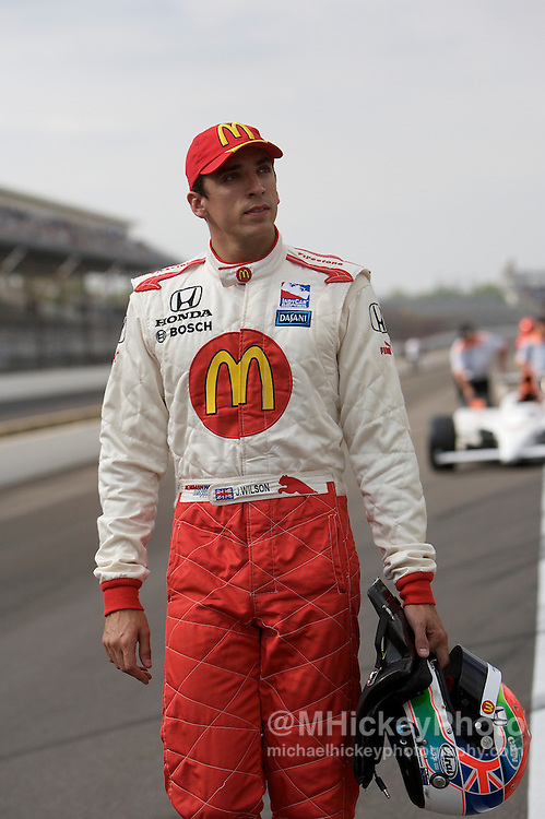 Indy Car driver Justin Wilson seen in the pits during qualifications for the Indy 500 at the Indianapolis Motor Speedway. Photo by Michael Hickey