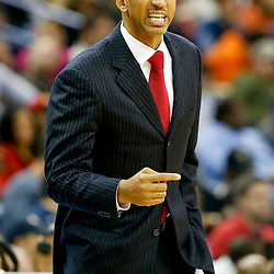 Dec 13, 2013; New Orleans, LA, USA; New Orleans Pelicans head coach Monty Williams against the Memphis Grizzlies during the second half of a game at New Orleans Arena. The Pelicans defeated the Grizzlies 104-98. Mandatory Credit: Derick E. Hingle-USA TODAY Sports