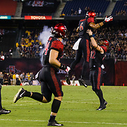 15 September 2018: San Diego State Aztecs wide receiver Tim Wilson Jr. (6) celebrates with teammates after catching a nine yard pass for a touchdown in the second quarter tying the game at fourteen. The Aztecs beat the Sun Devils 28-21 at SDCCU Stadium in San Diego, California.