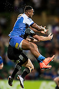 Semisi Masirewa of the Western Force flies to mark the ball during the Canterbury Crusaders v the Western Force Super Rugby Match. Nib Stadium, Perth, Western Australia, 8th April 2016. Copyright Image: Daniel Carson / www.photosport.nz