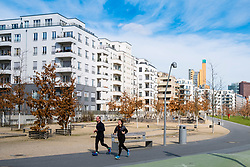 View of Gleisdreieck Park with modern new luxury housing adjacent in Berlin, Germany