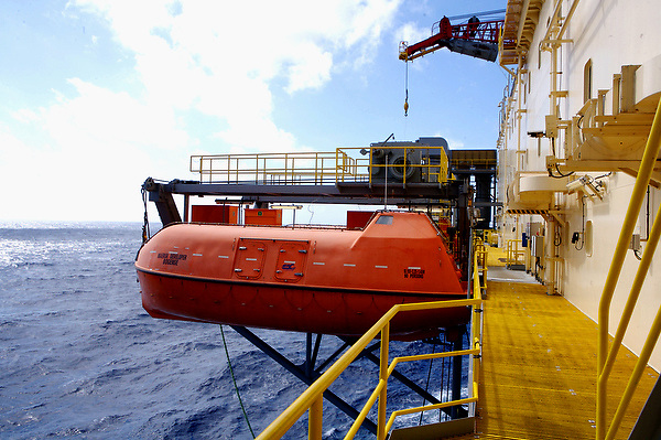 Stock photo of an offshore drilling rig life boat