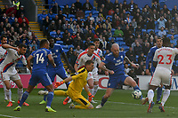 Football - 2018 / 2019 Premier League - Cardiff City vs. Crystal Palace<br /> <br /> Vicente Guaita of Crystal Palace & Aron Gunnarsson of Cardiff in a goalmouth scramble, at Cardiff City Stadium.<br /> <br /> COLORSPORT/WINSTON BYNORTH
