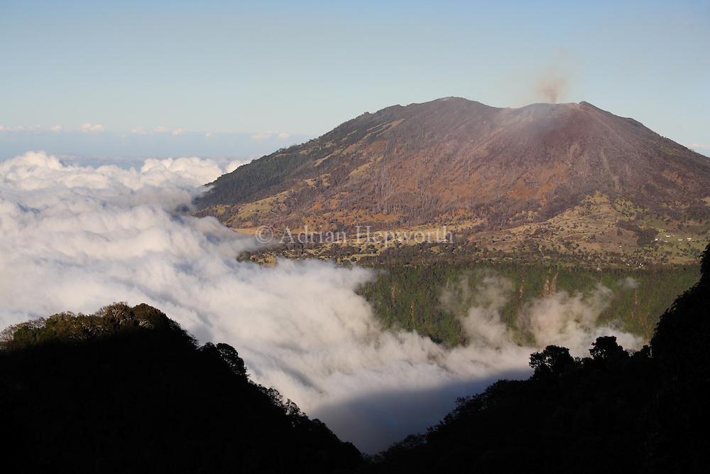 West flank and active crater of Turrialba Volcano, Costa Rica. Forest on this side has been destroyed by acid rain produced by the volcanic emissions. <br />
