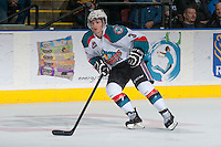KELOWNA, CANADA - DECEMBER 27: Riley Stadel #3 of the Kelowna Rockets skates against the Kamloops Blazers on December 27, 2013 at Prospera Place in Kelowna, British Columbia, Canada.   (Photo by Marissa Baecker/Shoot the Breeze)  ***  Local Caption  ***
