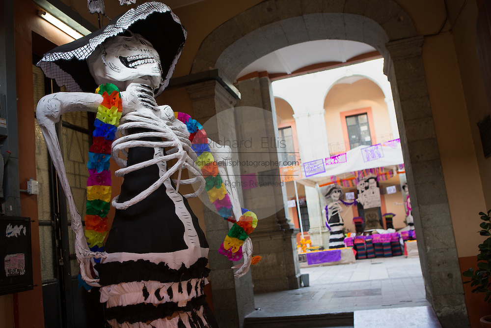 Skeleton decorations for the Day of the Dead festival known in spanish as Día de Muertos in Oaxaca, Mexico.