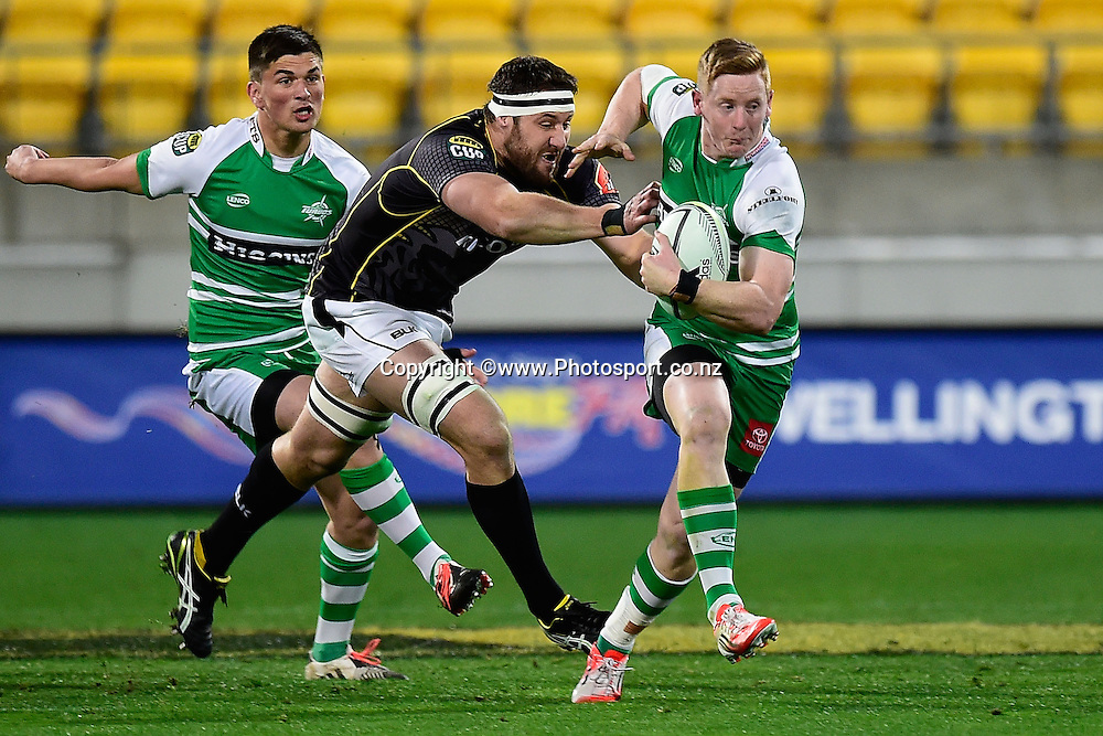 Hamish Northcott of Manawatu is tackled by Wellington's Jeremy Thrush during the ITM Cup rugby match between Wellington & Manawatu at the Westpac Stadium in Wellington on Friday the 29 August 2014. Photo by Marty Melville/www.Photosport.co.nz