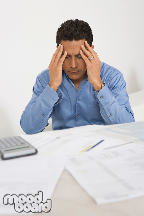 Man Anxious over Personal Finances