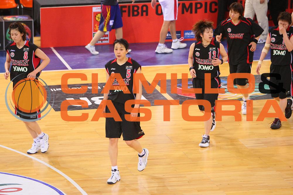 DESCRIZIONE : Madrid 2008 Fiba Olympic Qualifying Tournament For Women Quater Finals Czech Republic Japan <br /> GIOCATORE : Team Japan Team Giappone <br /> SQUADRA : Japan Giappone <br /> EVENTO : 2008 Fiba Olympic Qualifying Tournament For Women <br /> GARA : Czech Republic Japan Repubblica Ceca Giappone <br /> DATA : 13/06/2008 <br /> CATEGORIA : Delusione <br /> SPORT : Pallacanestro <br /> AUTORE : Agenzia Ciamillo-Castoria/S.Silvestri <br /> Galleria : 2008 Fiba Olympic Qualifying Tournament For Women <br /> Fotonotizia : Madrid 2008 Fiba Olympic Qualifying Tournament For Women Quater Finals Czech Republic Japan <br /> Predefinita :