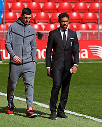 LIVERPOOL, ENGLAND - Sunday, April 10, 2016: Liverpool's Lloyd Jones and Jordon Ibe arrive before the Premier League match against Stoke City at Anfield. (Pic by David Rawcliffe/Propaganda)