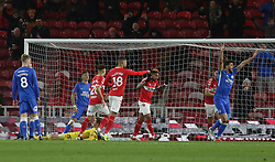 Britt Assombalonga of Middlesbrough after scoring the opening goal against his former club Peterborough United - Mandatory by-line: Joe Dent/JMP - 05/01/2019 - FOOTBALL - Riverside Stadium - Middlesbrough, England - Middlesbrough v Peterborough United - Emirates FA Cup third round proper