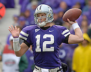 Kansas State quarterback Allan Evridge (12) gets ready to throw the ball down field against Texas A&M at KSU Stadium in Manhattan, Kansas, October 22, 2005.  The Aggies beat K-State 30-28.