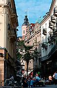 Deutschland, Germany,Baden-Wuerttemberg.Schwarzwald.Baden-Baden, Innenstadt mit Turm der Stiftskirche.Black Forest, Baden-Baden...