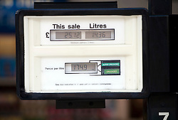 © Licensed to London News Pictures. 04/04/2012. London, UK. A service station on Sloane Avenue, Chelsea, West London, selling regular petrol at 174.9p per litre. Prices at petrol stations have increased following a recent shortage caused by panic buying. Photo credit : Ben Cawthra/LNP
