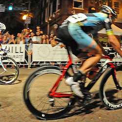 Joseph Schmalz, of Elbowz Racing who won the Pro Men's Iron Hill Twilight Criterium is seen here in third place, with one lap to go. TK4