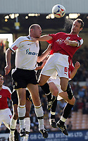 Photo: Paul Thomas.<br /> Port Vale v Bristol City. Coca Cola League 1. 23/09/2006.<br /> <br /> Richard Walker of Port Vale is beaten to the ball by Bristol's Louis Carey (R).