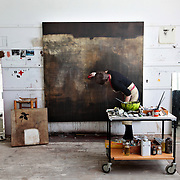 Naomi Frears painting in Studio 3 of Porthmeor Artists Studios, St Ives.<br />