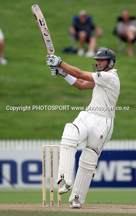 New Zealand opening batsman Tim McIntosh batting.<br />Day 3. Test match cricket. One off test.<br />New Zealand Black Caps versus Bangladesh.<br />Seddon Park, Hamilton, New Zealand.<br />Tuesday 17 February 2010.<br />Photo: Andrew Cornaga/PHOTOSPORT