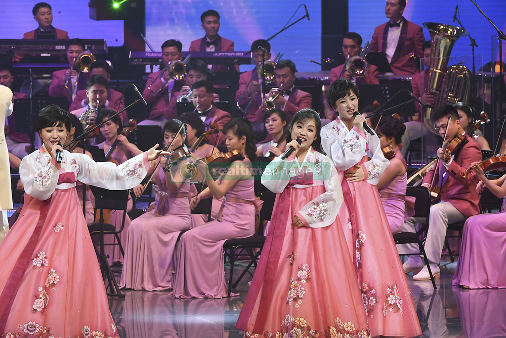 GANGNEUNG, South Korea, Feb. 8  The Samjiyon orchestra members give performance in the Arts Center of Gangneung, South Korea, on Feb. 8, 2018. The Samjiyon orchestra from the Democratic People's Republic of Korea (DPRK) staged a performance in the South Korean city of Gangneung on Thursday night before the opening of the PyeongChang Winter Olympics. (Credit Image: © Yao Qilin/Xinhua via ZUMA Wire)