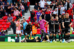 Josh Brownhill of Bristol City is treated after a red card challenge from Joe Allen of Stoke City - Rogan/JMP - 14/09/2019 - Bet365 Stadium - Stoke, England - Stoke City v Bristol City - Sky Bet Championship.