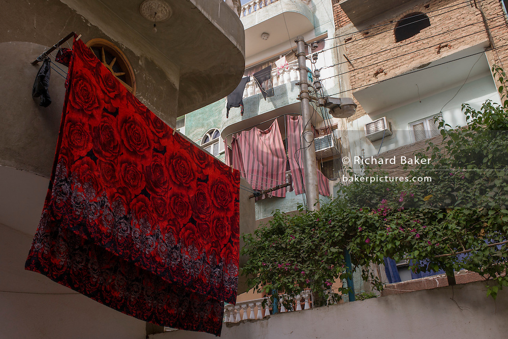 A towel airs from a line in Gezirat, a village on the West Bank of Luxor, Nile Valley, Egypt.