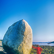 Boulder on the coast. Bar Harbor, Maine