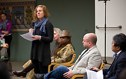 Prof. Jenny James shares her thoughts during a forum discussion of issues surrounding deaths of African-Americans by police and is sponsored by the Diversity Center, Women's Center and CCES held in the Scandinavian Center at PLU on Thursday, Dec. 4, 2014. (PLU Photo/John Froschauer)