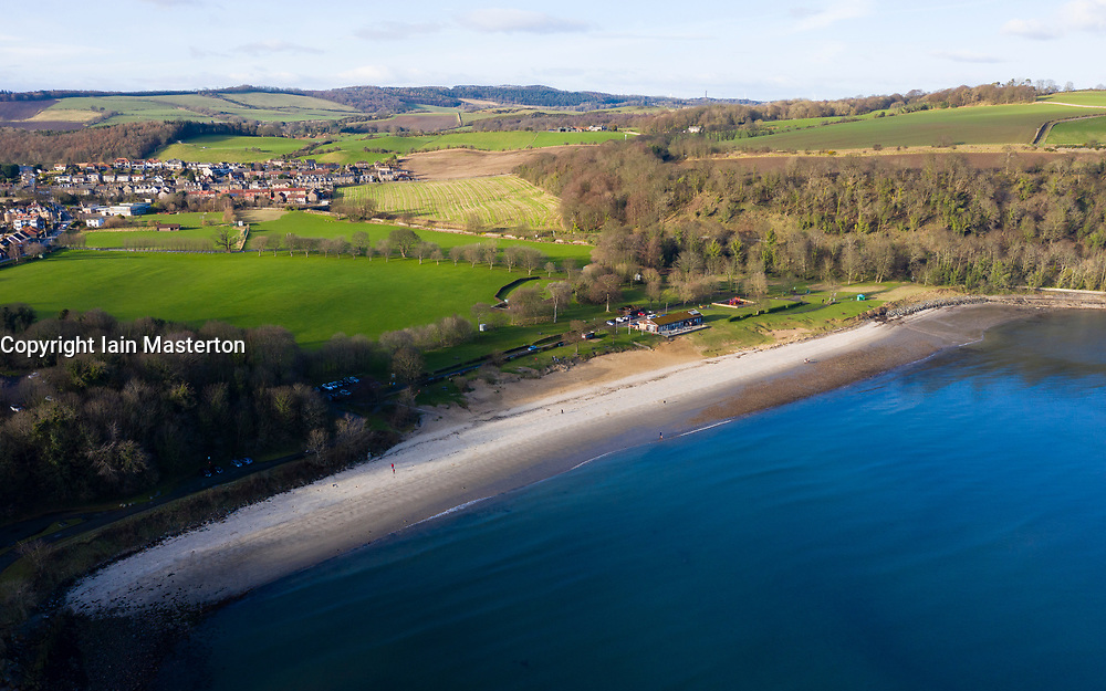 Aerial view of Silversands beach at  Aberdour in Fife, Scotland, UK