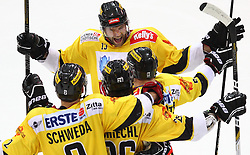 15.01.2013, Albert Schultz Eishalle, Wien, AUT, EBEL, UPC Vienna Capitals vs EHC Liwest Linz, 42. Runde, im Bild Torjubel Peter Schweda, (UPC Vienna Capitals, #2), Michael Schiechl, (UPC Vienna Capitals, #26), Zdenek Blatny, (UPC Vienna Capitals, #13) und Rafael Rotter, (UPC Vienna Capitals, #6) // during the Erste Bank Icehockey League 42nd Round match betweeen UPC Vienna Capitals and EHC Liwest Linz at the Albert Schultz Ice Arena, Vienna, Austria on 2013/01/15. EXPA Pictures © 2013, PhotoCredit: EXPA/ Thomas Haumer