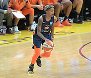 Connecticut Sun guard Courtney Williams (10) dribbles the ball during a WNBA basketball game against Los Angeles Sparks Friday, May 31, 2019, in Los Angeles.The Sparks defeated the Sun 77-70.  (Dylan Stewart/Image of Sport)