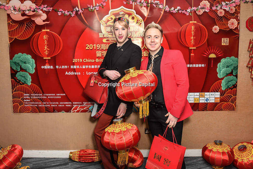 Lewis-Duncan weedon and John Galea attends the 7th 2019 Chinese New Year Extravaganza showcasing more than 300 performers including musical Chinese dance , Taiji ,Kungfu,magic face change and much more at Logan Hall. The performance from more than 20 arts groups from China and UK on 2nd Febuary 2019, London, UK.
