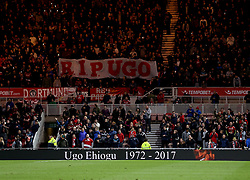 Middlesbrough fans pay tribute on 44 minutes to Ugo Ehiogu who died suddenly last week - Mandatory by-line: Robbie Stephenson/JMP - 26/04/2017 - FOOTBALL - Riverside Stadium - Middlesbrough, England - Middlesbrough v Sunderland - Premier League