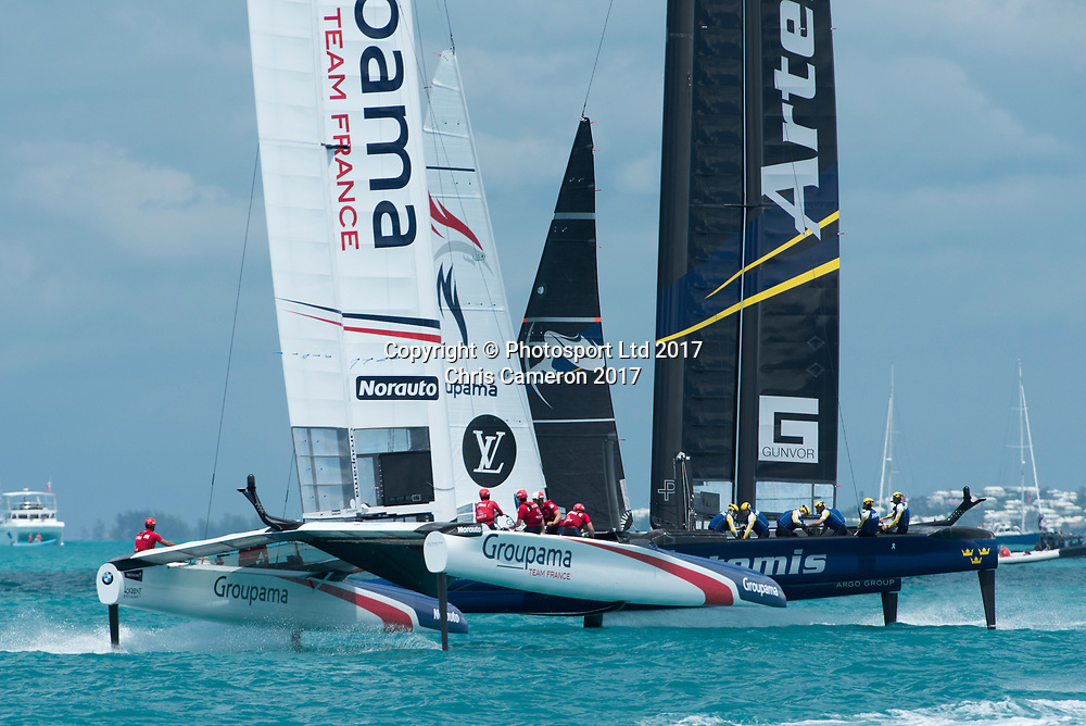 Race seven on day two ot the America's Cup Challenger series. Groupama Team France against Artemis Racing (SWE). Team France win. Bermuda. 28/5/2017<br /> Copyright photo: Chris Cameron / www.photosport.nz<br /> For editorial news use only NO AGENTS