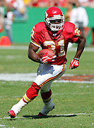 KANSAS CITY, MO - SEPTEMBER 26:  Running back Priest Holmes #31 of the Kansas City Chiefs became the Chiefs' career rushing leader with 134 yards rushing against the Houston Texans at Arrowhead Stadium on September 26, 2004 in Kansas City, Missouri. The Texans defeated the Chiefs 24-21. ©Paul Anthony Spinelli *** Local Caption *** Priest Holmes