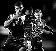 Thomas Farrell of Connacht is tackled by Keelan Giles of Ospreys<br /> <br /> Photographer Simon King/Replay Images<br /> <br /> Guinness PRO14 Round 7 - Ospreys v Connacht - Friday 26th October 2018 - The Brewery Field - Bridgend<br /> <br /> World Copyright &copy; Replay Images . All rights reserved. info@replayimages.co.uk - http://replayimages.co.uk