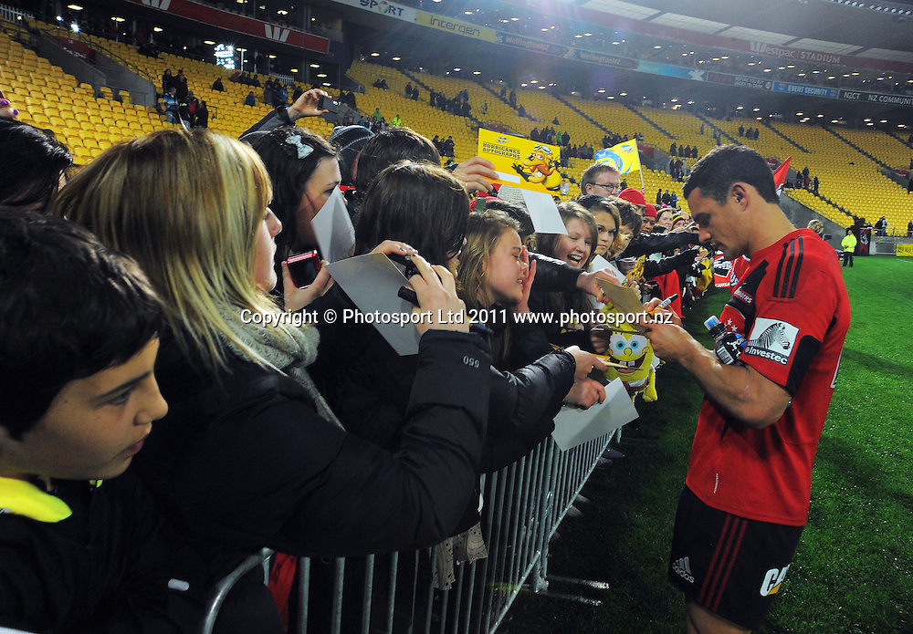 Super 15 rugby match - Crusaders v Hurricanes at Westpac Stadium, Wellington, New Zealand on Saturday, 18 June 2011. Photo: Dave Lintott / photosport.co.nz