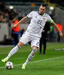 November 20, 2018 - Stockholm, Sweden - Artem Dzyuba of Russia in action during the UEFA Nations League B Group 2 match between Sweden and Russia on November 20, 2018 at Friends Arena in Stockholm, Sweden. (Credit Image: © Mike Kireev/NurPhoto via ZUMA Press)