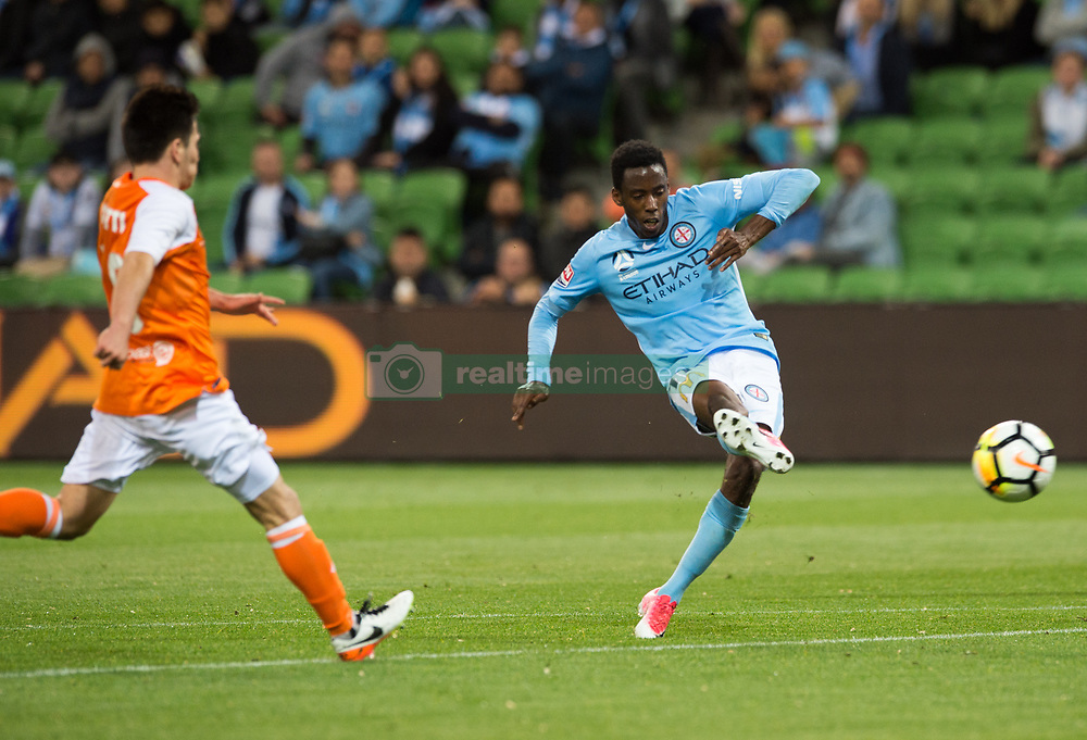 October 6, 2017 - Melbourne, Victoria, Australia - Melbourne, Victoria, Australia - Bruce Kamau (#11) of Melbourne City scores a goal during the round 1 match between Melbourne City and Brisbane Roar at AAMI Park in Melbourne, Australia during the 2017/2018 Australian A-League season. (Credit Image: © Theo Karanikos via ZUMA Wire)